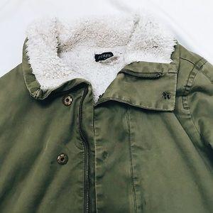 JCREW green lightly used thick fleece inside trend